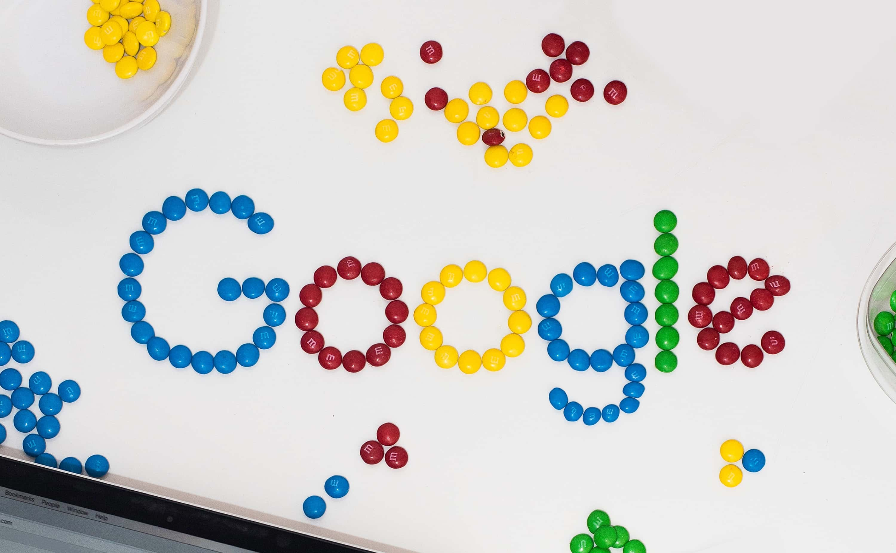 The Google logo spelled with M&Ms.