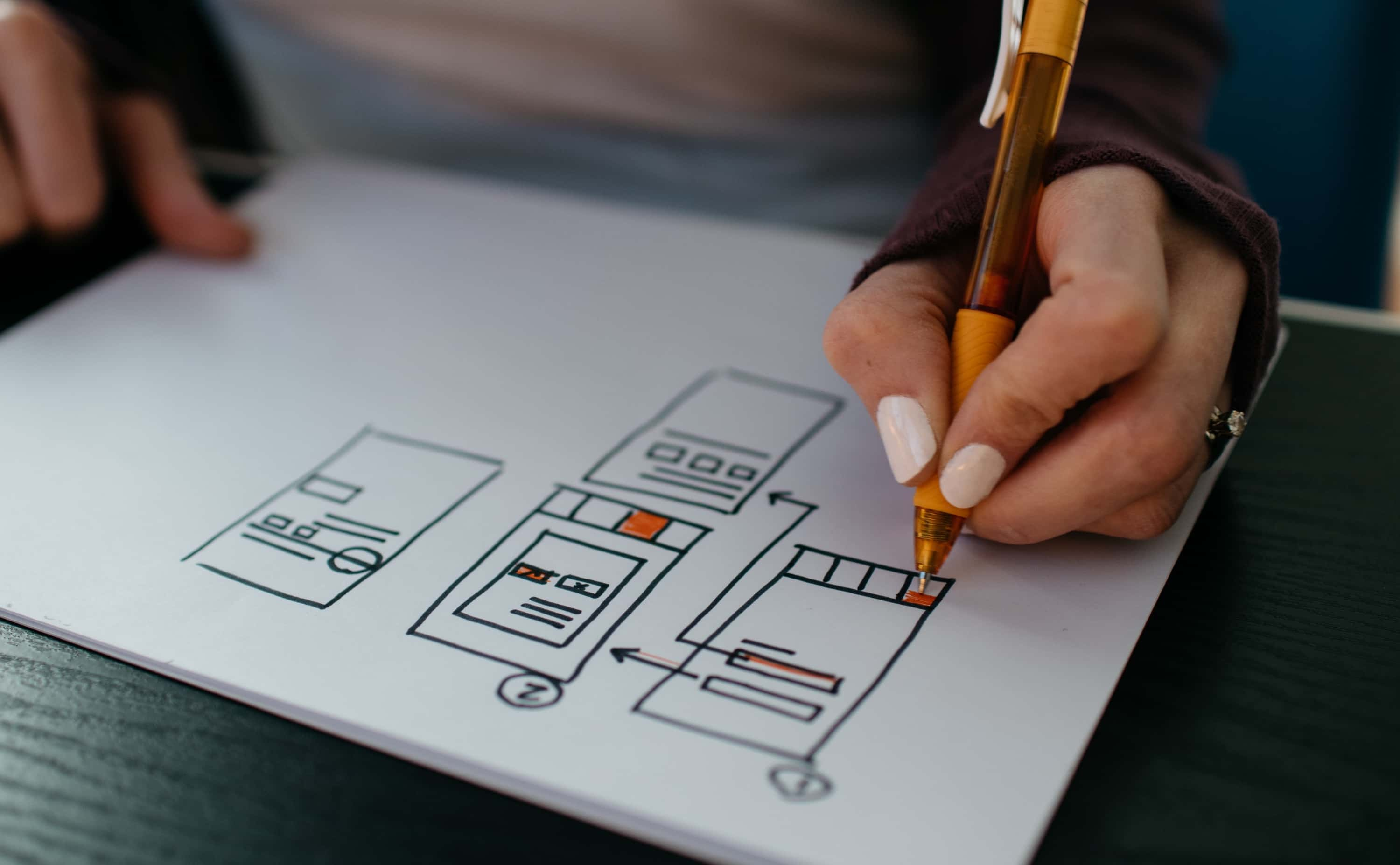 A person draws the checkout customer journey for a website.