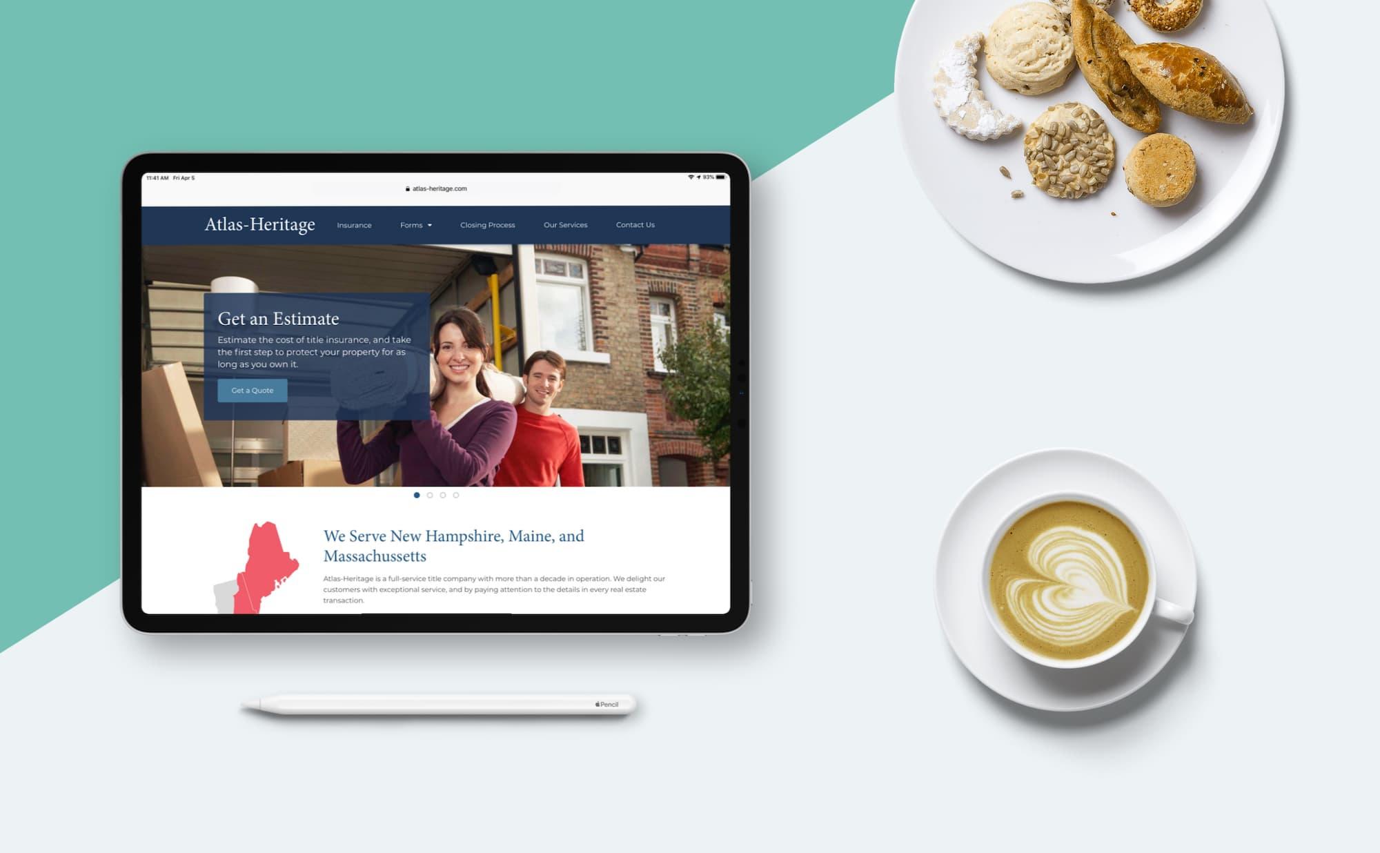 Atlas-Heritage website as seen on an iPad Pro