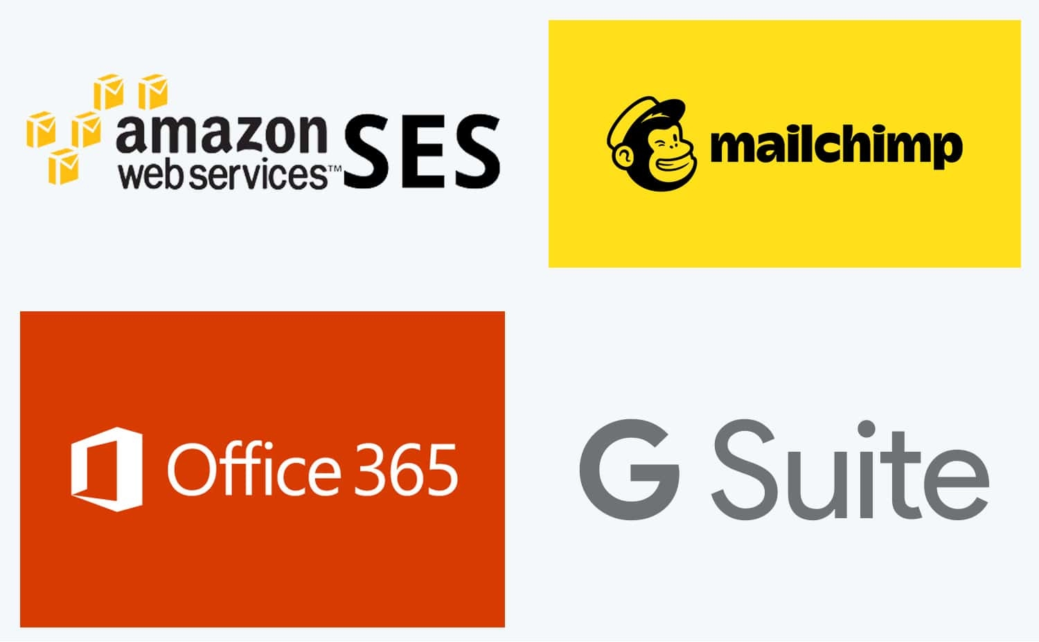 Email service providers include Google, Microsoft, Mailchimp, Amazon, and others.