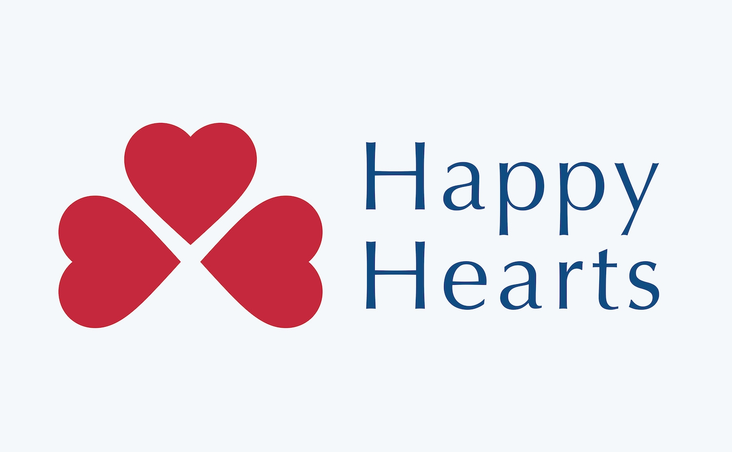 Happy Hearts full-color logo in trustworthy blue and appealing red.