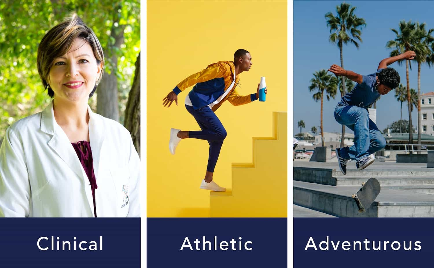 Three different types of images: clinical, athletic, and adventurous.