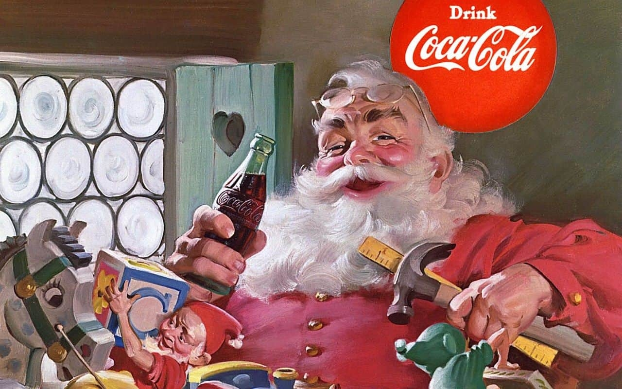 Coca-Cola advertisement with Santa Claus, illustrated by Norman Rockwell.