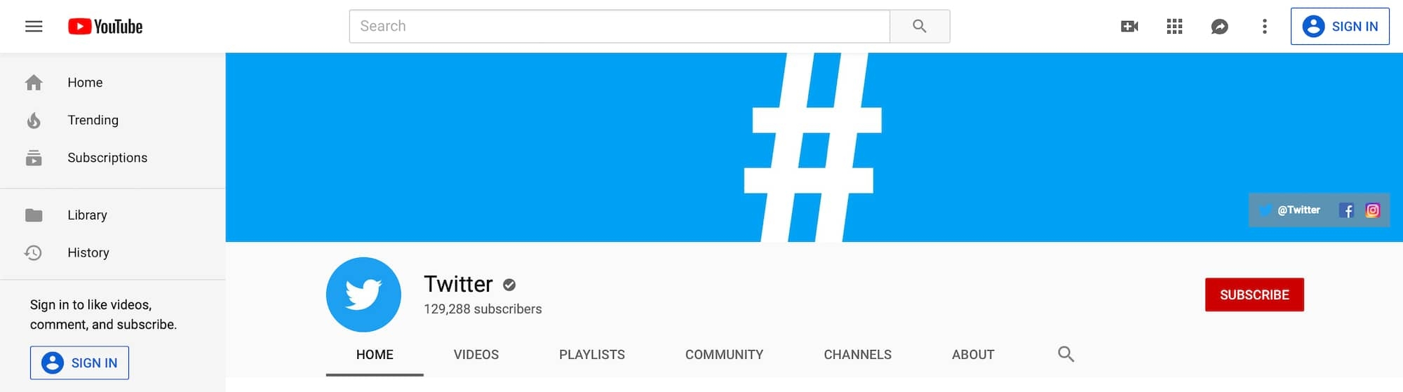 Twitter's channel page and their YouTube logo