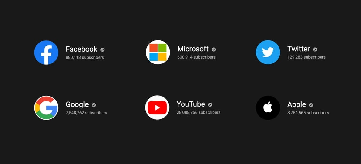 YouTube logos for Facebook, Microsoft, Twitter, Google, YouTube, and Apple